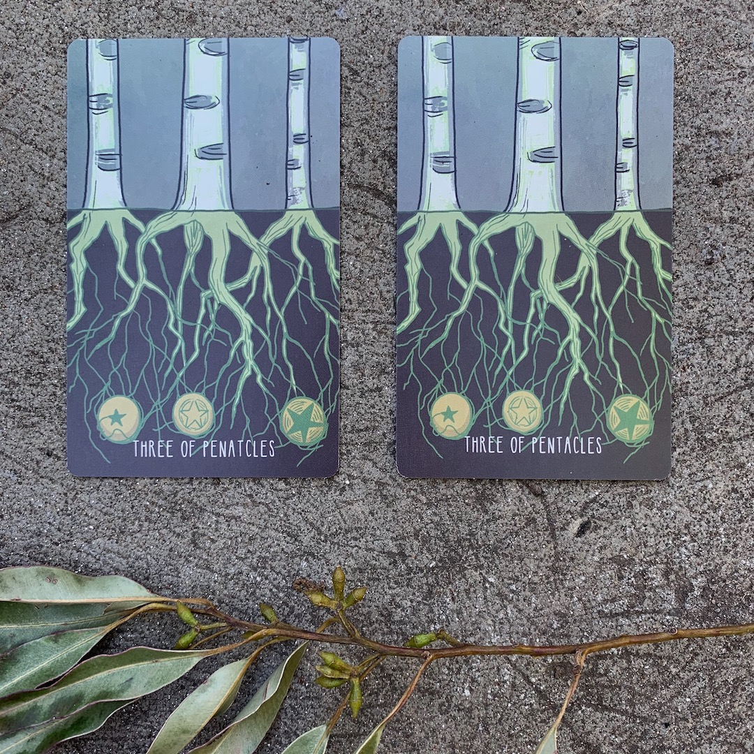 First and second edition of the Spacious Tarot side by side